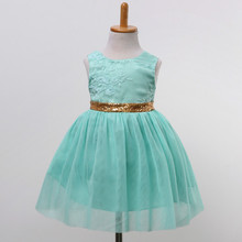 Sequined Kids Infant Girls Wedding Flower Girls Dress Princess Party Pageant Formal Dress Sleeveless Lace Tulle Tutu Dres
