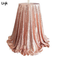 Urijk 1PC Fashion Sequins Rose Gold Table Cloth Round Table Decorations Wedding Party Banquet Tablecloths Modern Table Cover