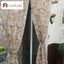 Floral design washable tulle curtain fabrics beautiful sheer panel American country style window curtain for balcony or kitchen