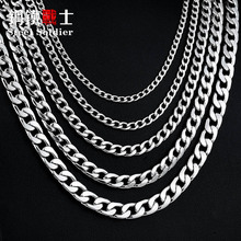 steel soldier retail & Wholesale Water Wave Chain Necklace for Man Woman Stainless Steel Cheap and Super Quality(China)