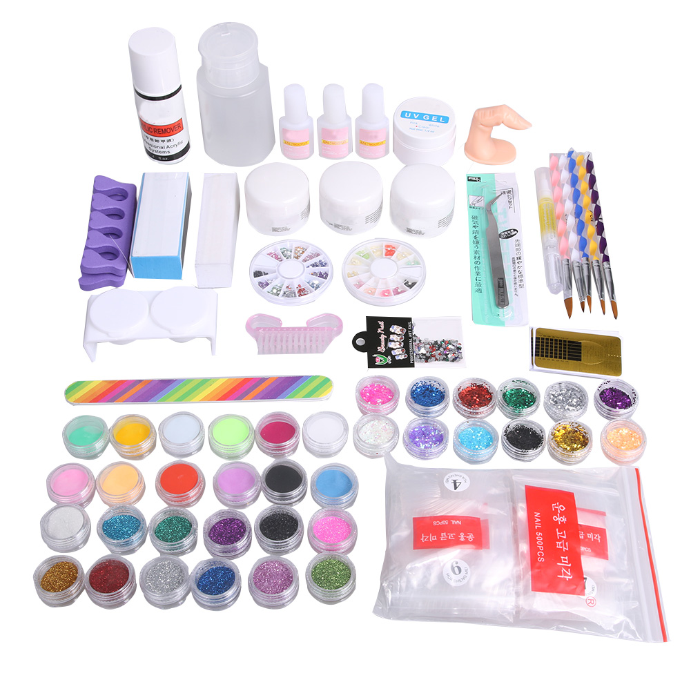 Professional Manicure Tools Set 36 Colors Nail Art Decorations UV Gel Nail Glue Polish Soak Off Box Removal Tips Drawing Pen<br>