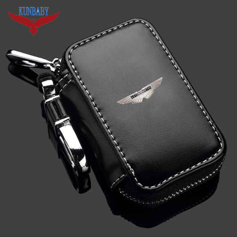 Bmw M Power Car Leather Bag Key Holder Genuine Chain Ring Zip Brand Pouch