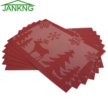 JANKNG 6 Piece PVC Plastic Placemats for Dining Table Christams Gift Tree Snow Linen Place Mat in Kitchen Accessories Cup Mat