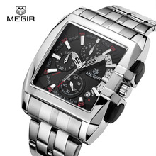 Megir Clock Male Sport Stainless Steel Best Quartz Watches Men Luxury Brand Military Chronograph Wristwatch relogio masculino
