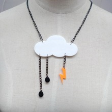 Night Club Personality Punk Cloud Lightning Acrylic Pendant Necklace Choker Chain Women Jewelry Accessories Hip Hop
