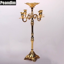 PEANDIM Parties Decorations Metal Candle Holders Wedding Centerpieces Floor Candelabra Gold Plated Candlestick With Flower Bowl