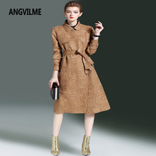 ANGVILME 2017 Winter Women Top Vintage waist Trench Fashion Slim Long Coat Coat Two colors Open stitch Trench(China)