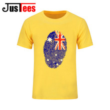 2017 newest summer style new fashion Australia flag fingerprint creative design men T shirts tops tees man pure cotton t-shirts