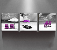 "BANMU Canvas Wall Art-Multi Pieces Canvas Prints ""Purple Relaxing Moment"" Modern Landscape in Oil Paintings Artwork Style  Art"