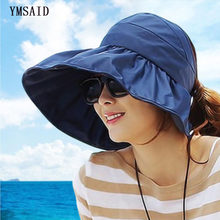 Ymsaid Sun Hats Empty Top Visor Hat Collapsible Cool Hat For Women s With Big  Heads Beach 3afbca85d7b