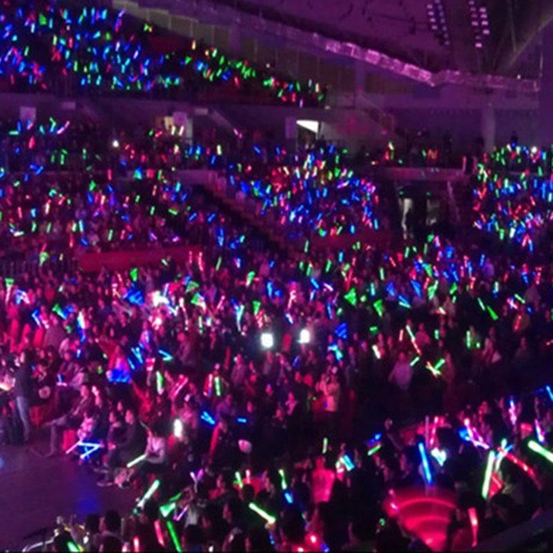 24Pcs-Lot-Colorful-Flashing-LED-Foam-Sticks-48cm-Light-Up-Glow-Stick-Soft-Rally-Rave-Cheer 3