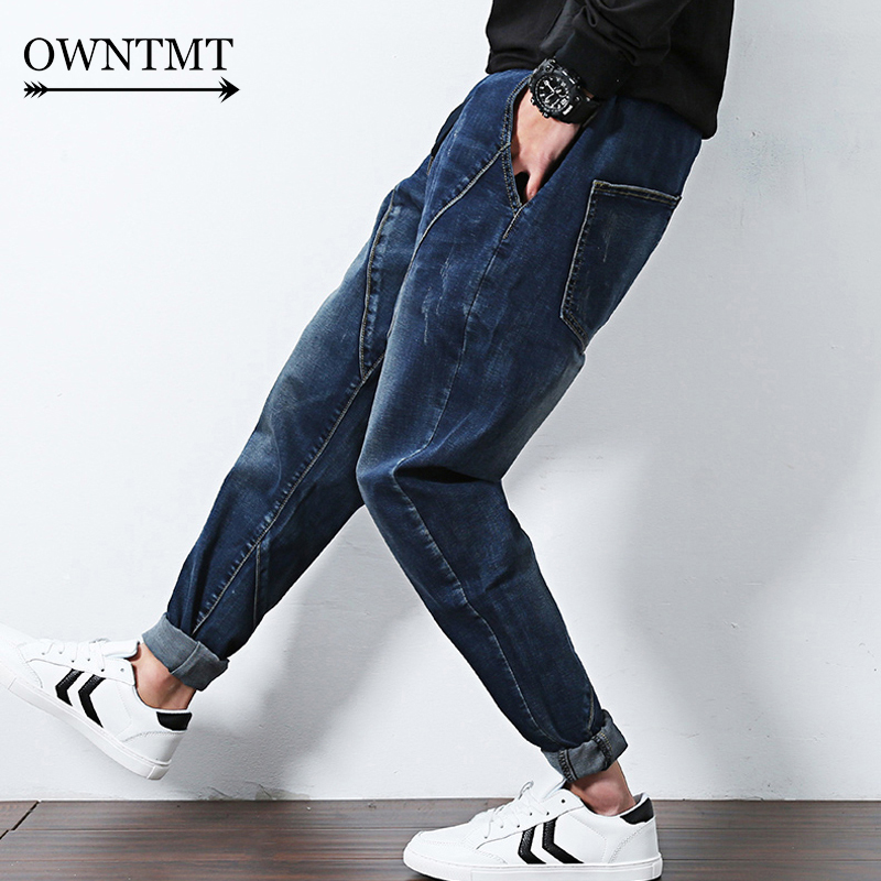 2019 Casual male Patchwork jeans spring autumn low crotch pencil elastic jeans men harem Hip Hop Swag Clothing Streetwears Jeans
