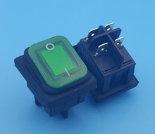 50Pcs Waterproof IP67 DPST On-Off 4Pin Green Lamp Rocker Switch 16(10)A 250VAC(China)