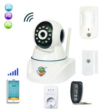 GSM Alarm & IP Network Camera with Wireless PIR & Door Sensor Alarming Alert System(China)