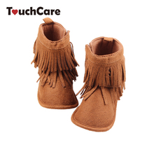 Infant Cotton Soft Baby Girl Shoes Newborn Warm Solid High Top Baby First Walker Toddler Fringe Anti-slip Baby Boots Moccasin