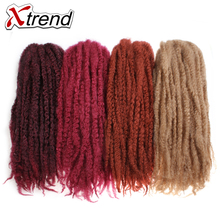 Xtrend Synthetic Afro Kinky Twist Hair For Women Brown Burgundy 18inch 100g Crochet Braid Hair Extensions High Temperature Fiber