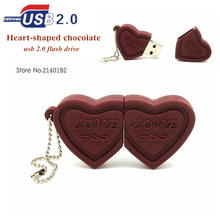 2016 Newest style love chocolate cute USB Flash drive heart shaped Pen Drive 8GB 16GB 32GB pendrive memory stick real capacity(China)