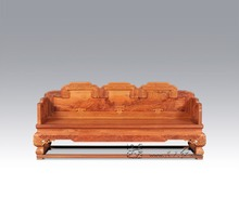 Chinese Royal Rosewood Furniture Padauk Sofa Bed 3 Seat Triple chair Solid Wood Chaise Lounge Classical Antique Recliner Sleeper(China)