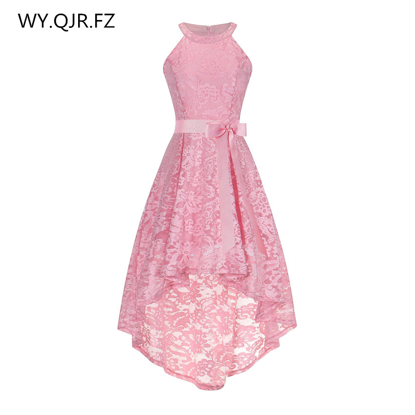 OML526F#Front short long back pink halter Bow Evening Dresses Classmate party dress prom gown wholesale fashion clothing China(China)