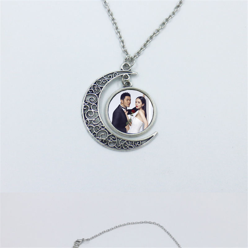 necklace pendant sublimation moon love heart necklaces pendants jewelry heat tranfer printing DIY gift include veneers