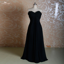 RSE232 Ruffles Neckline Long Chiffon Black Bridesmaid Dresses