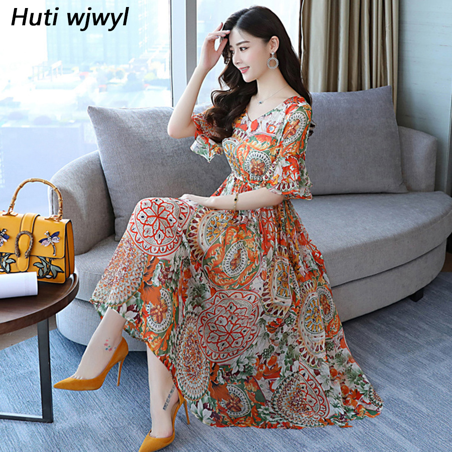 2019 Plus Size Elegant Floral Chiffon Midi Dress Summer New Female Vintage Maxi Beach Sundress Women Bodycon Boho Party Vestidos Платье