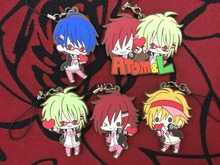 5 Pcs/set Anime DIABOLIK LOVERS pvc figure toy MARGINAL#4 M4 Kotobukiya Rubber phone strap/Keychain pendant toys for gifts