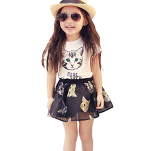Fashion Girls Clothing Sets Cartoon Cat Tshirt+Skirt 2pcs Suits Cotton Children Clothes Cool Girls Tutu Vestido Vetement Fille