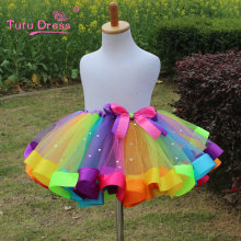 2017 Newest Baby Girl Skirt Kids Rainbow Tutu Skirts Hot Selling Pettiskirt Tutu Custome Party Wedding Dance Skirt(China)