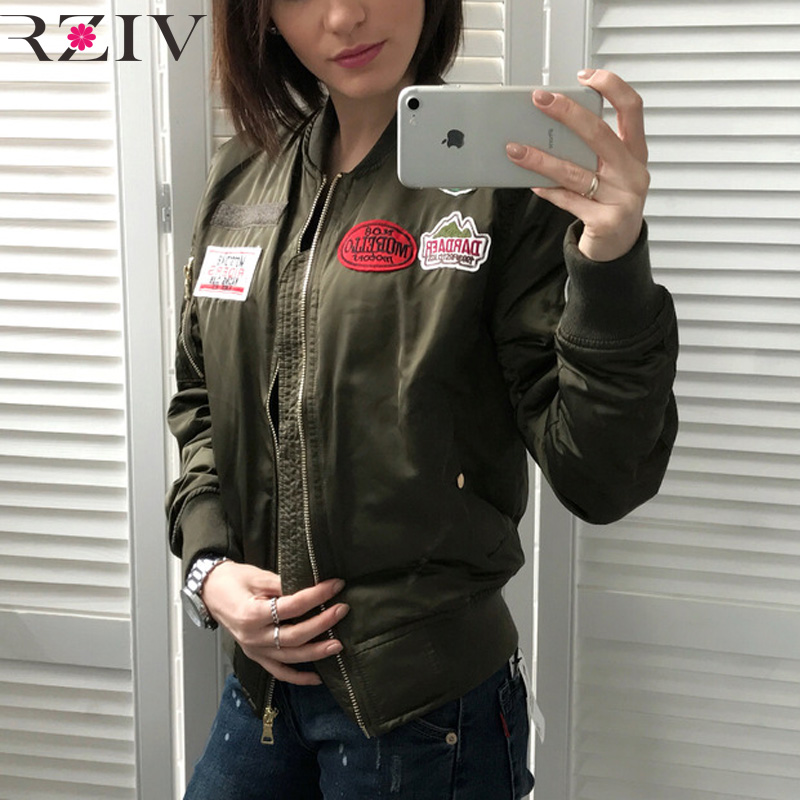 RZIV 2017 autumn and winter womens bomber jacket leisure solid color decorated decorative cotton patch jacket women basic coatsОдежда и ак�е��уары<br><br><br>Aliexpress