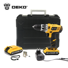 DEKO GCD18DU2 18V DC New Design Mobile Power Supply Lithium-Ion Battery Cordless Drill/Driver Power Tools Electric Drill Set