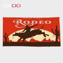 Custom Microfiber Ultra Soft Bath/hand Towel,Vintage Rodeo Cowboy Riding Bull Wooden Old Sign Western Wilderness at Sunset