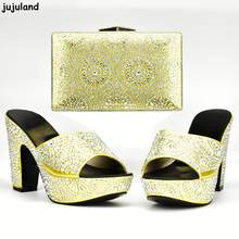 Latest Yellow Color Italian Shoes and Bags To Match Shoes with Bag Set Decorated with Rhinestone Nigerian Shoe and Matching Bags