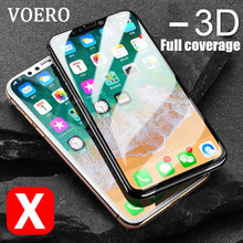 VOERO Luxury Tempered Glass For iPhone X 10 Full Cover Screen Protector 3D Curved Soft Edge Protector Case For iPhone 10 X Glass(China)