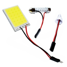 T10 Adapter Festoon Base COB LED Panel Bulb 24 SMD Car Dome Light Auto Interior Map Roof Reading Lamp Super White DC 12V(China)