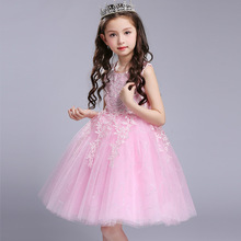 Top 2017 Girls Lace Flower Princess Dress Baby Pink Clothes Bow Frocks Designer Kids Party Prom Dresses Girl Wedding Ball Gowns
