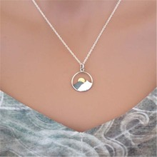 FUNIQUE Creative Sunrise Sunset Pendant Necklace Metal Cameo Simple Necklaces Fashion Trendy Ladies Jewelry