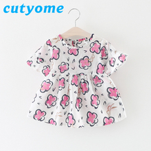 Cutyome Ruffle Raglan T-Shirt For Girls Little Child Floral Fly Sleeve Tees Vestido Top 2017 Cheap China Baby Kids Tunic T Shirt