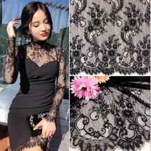 3M/ lot  High quality black white phoenix nylon eyelash lace fabric 150cm wide lace manual diy clothes accessories