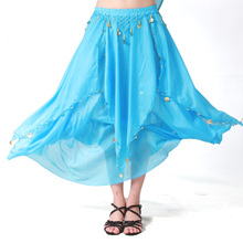 8 Colors Solid Dancewear Women Bollywood Dance Wear Chiffon Indian Skirt Elastic Waist Long Belly Dance Coin Skirts