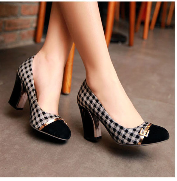fashion plaid office career round toe  pumps for women black white color casual thick heel shoes<br><br>Aliexpress