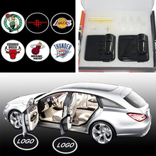 2PCS/Set Wireless LED Car Door Projector Ghost Shadow Lights BMW Basketball Jersey Logo Laser Lighting for NBA Fans Gift Xmas