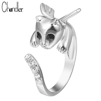 Exquisite Silver Gold Plate Angel Cat Kitty Wing Ring With CZ Crystal Justable Alloy Metal Animal Bling For Women Wedding Ringen
