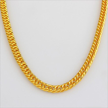 Classic Silver Golden Chain Necklaces Hip Hop Chain For Men Gold Plated Thick Metal Curb Chain Length 90CM Men Collier Jewelry
