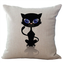 Europe Cartoon Style Black Cat Pillowcase Cotton Linen Car Sofa Bedroom Home Decor Throw Pillow Cushion Cover(China)