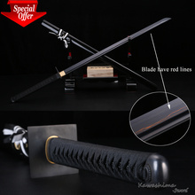 Special Offer Japanese Katana Ninja Sword Damascus Forged Steel Black Plating With Red Lines Kawashima Steel Brand Special offer(China)