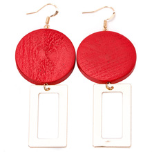 Hot Popular Exaggerated Red Log Metal Geometric Splice Earrings & Fashion Statement Earrings for Gifts