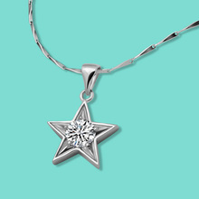 This season, the new silver necklace, 925 silver necklace for women Ms stars zircon inlaid necklace necklace best gift for girl