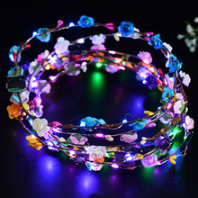 Flashing LED Glow Flower Crown Headbands Light Party Rave Floral Hair Garland Wreath Wedding Flower Girl Headpiece Decor(China)