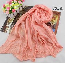 2015 Fashion Scarf Spring and Winter Cotton cape chiffon silk scarf solid color all-match long design scarf female Head Scarves